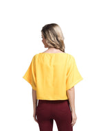 Uptownie Solid Yellow Boxy Top 3 summer sale