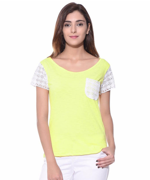 Uptownie Solid Yellow Lace Sleeved T-shirt 1 summer sale