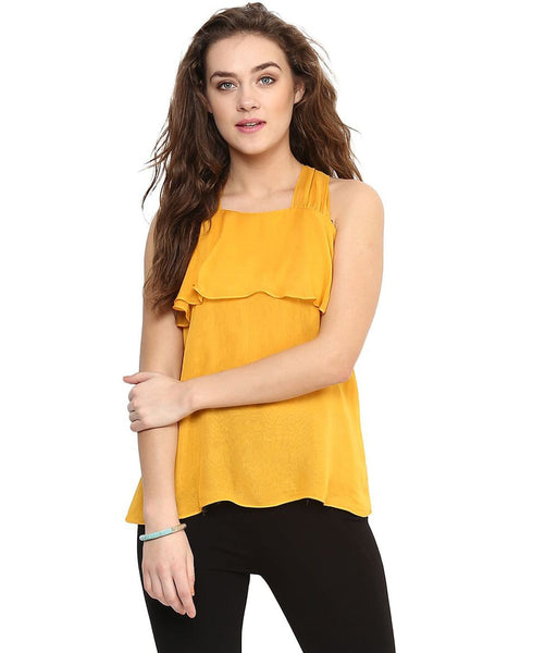 Uptownie Solid Yellow Sleeveless Georgette Top 1 clearance sale