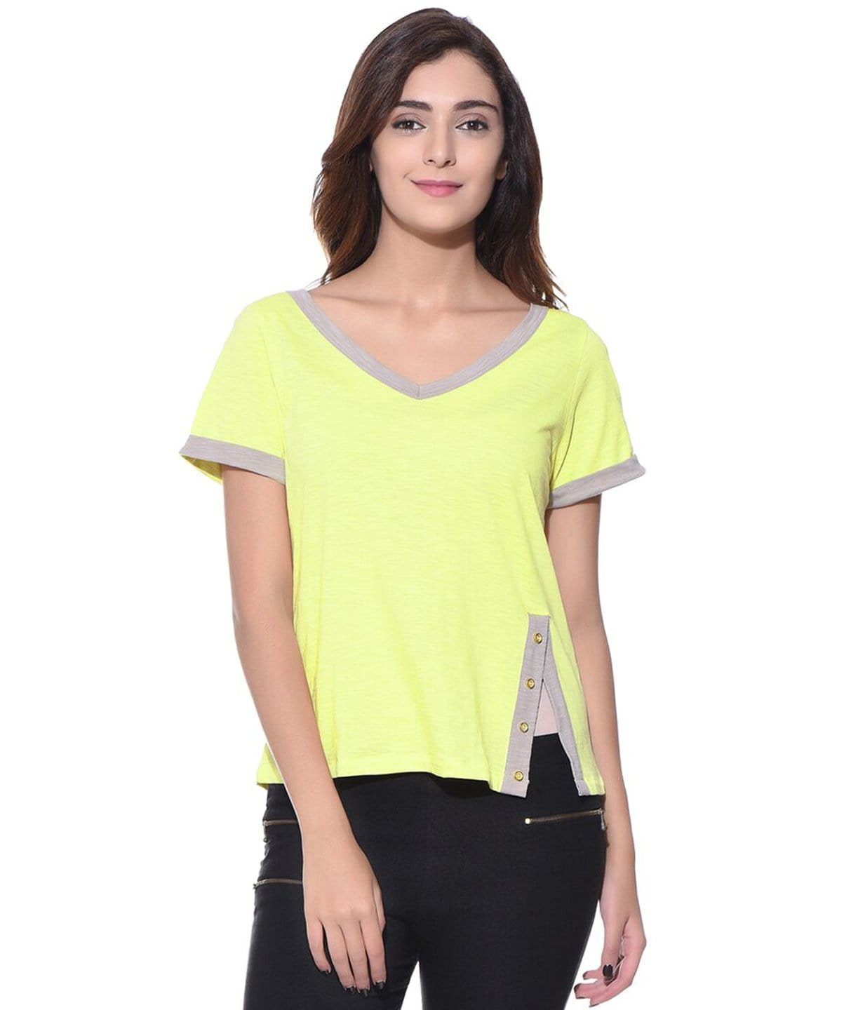 Solid Yellow V Neck T-shirt (cotton)