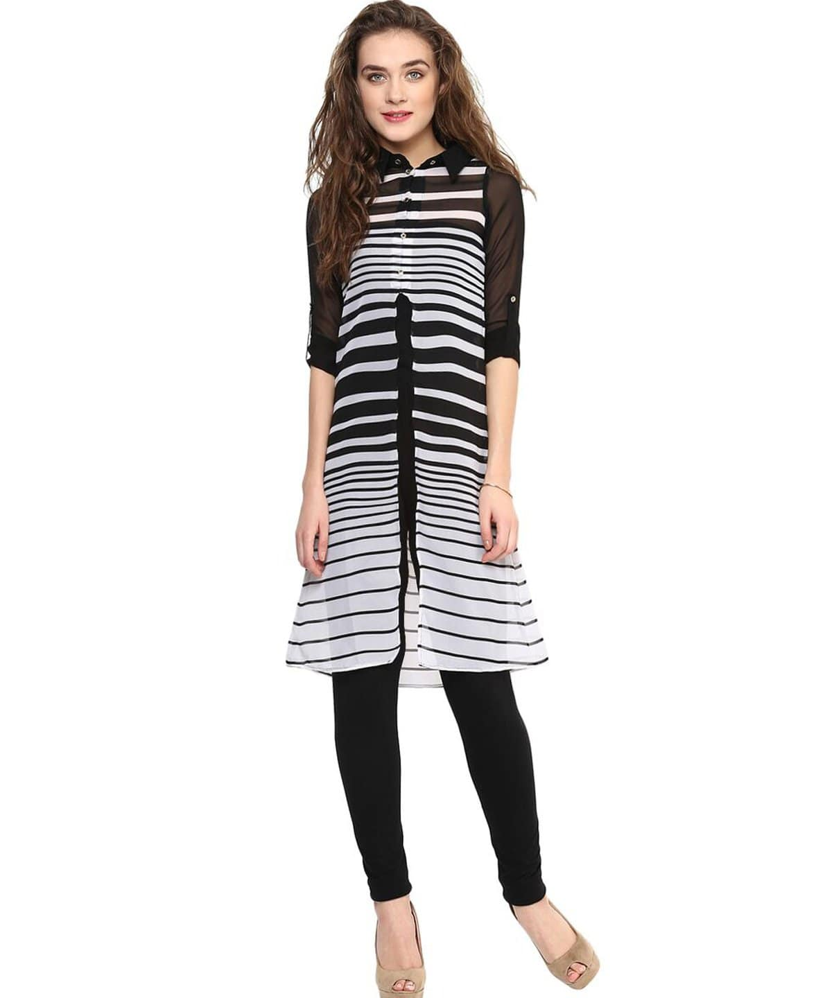 Striped Black & White Slit Georgette Tunic