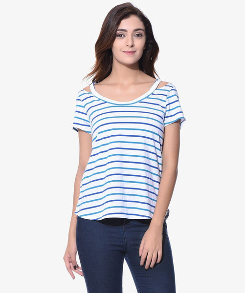 Striped Blue Shoulder Cut Out Tshirt (Cotton)