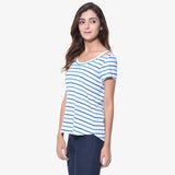 Striped Blue Shoulder Cut Out Tshirt (Cotton). BUY 1 GET 1
