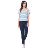Striped Blue V Neck T-shirt (cotton)