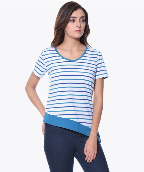 Uptownie Striped Blue & White Slant T-shirt (cotton) 1 trendsale