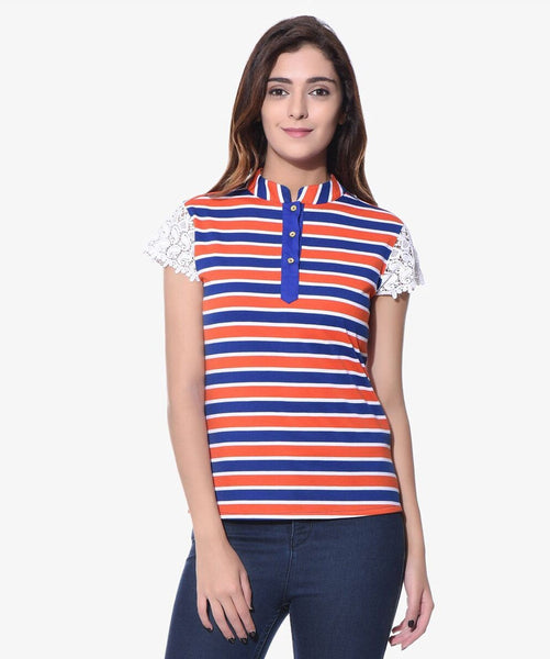 Uptownie Striped Multi-color Casual T-shirt (cotton)1 clearance sale