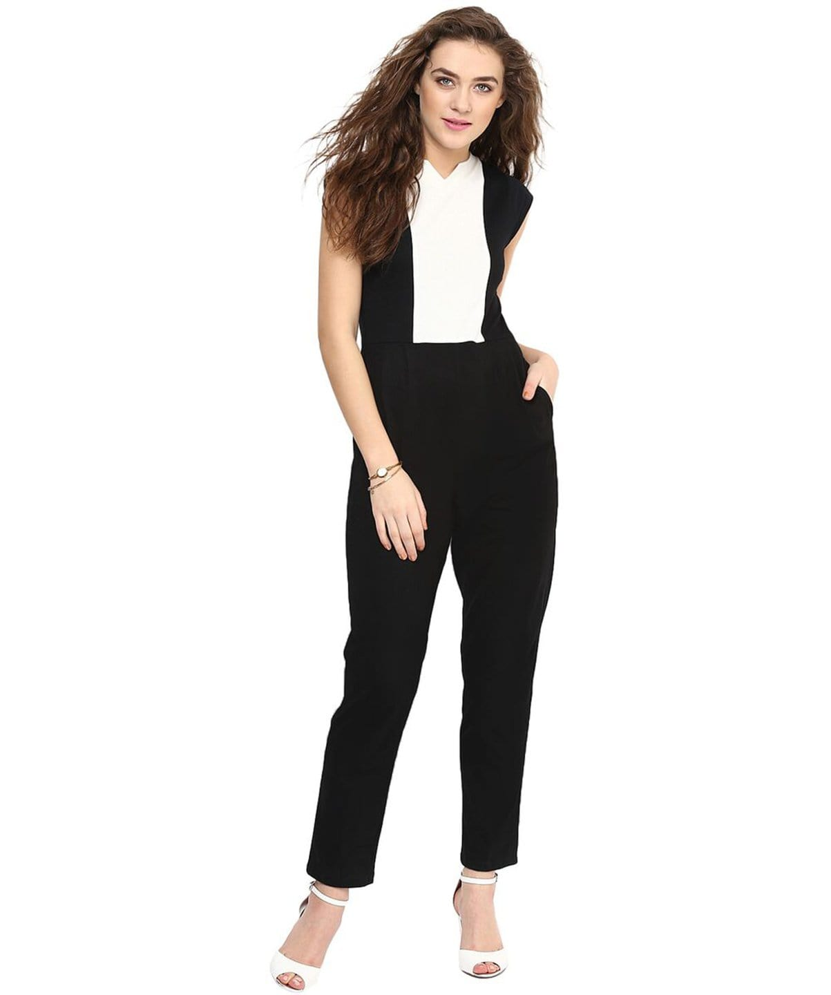 The Black & White Solid Cotton Jumpsuit