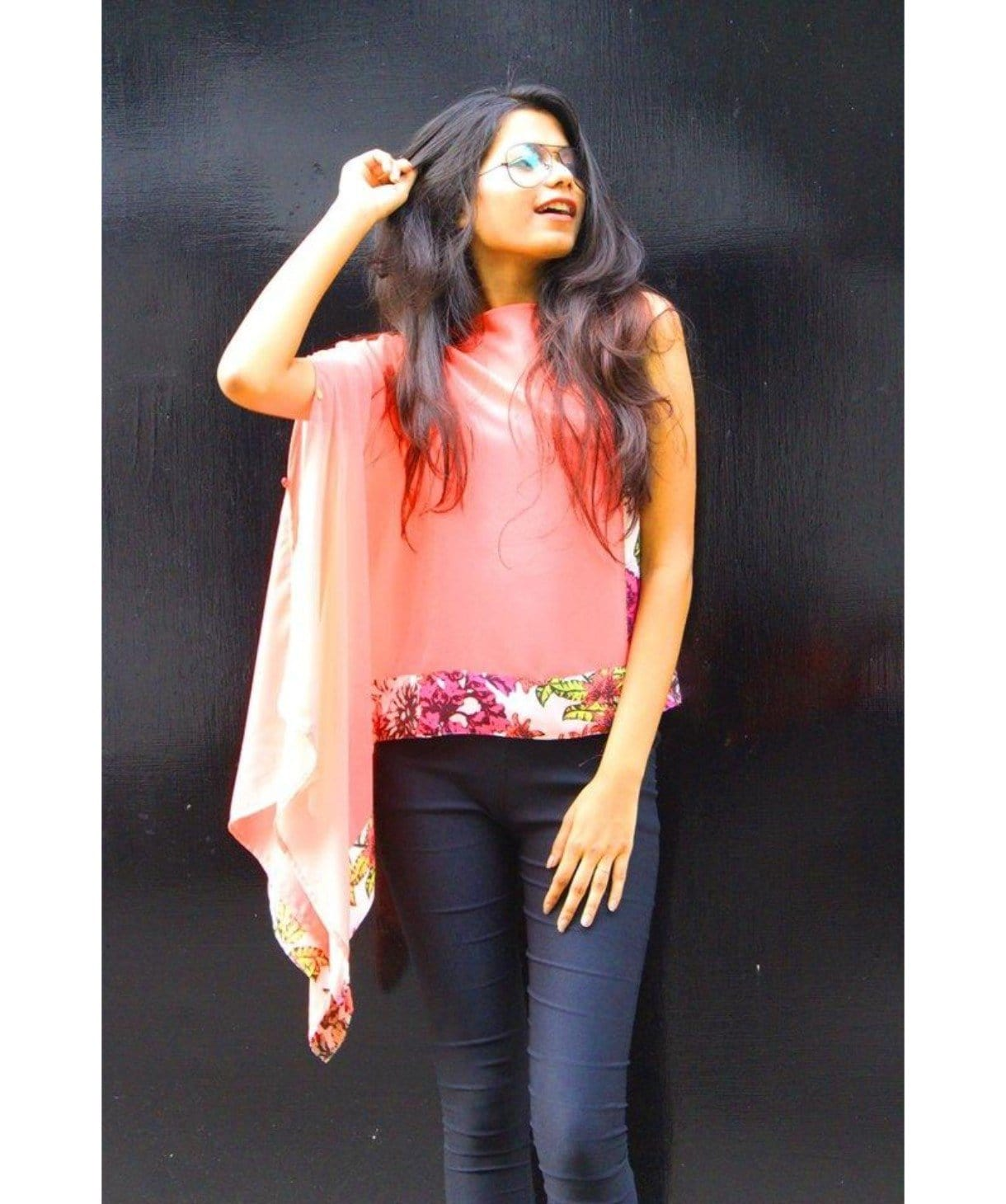Solid Coral Sleeveless Cape