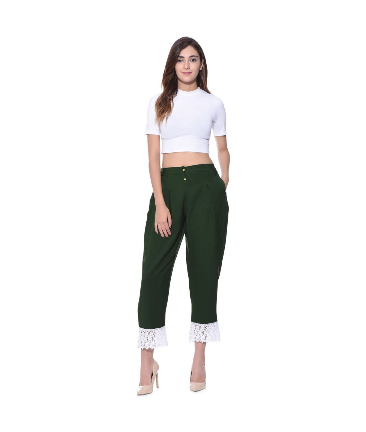 Uptownie Lace Border Green Crepe Pants 1 clearance sale