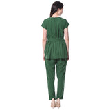 Green Solid Peplum Jumpsuit
