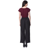 Colorblock Maroon & Black Jumpsuit