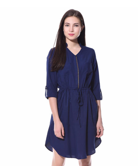 Blue Darling Zipper Dress