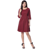 Solid Wine Skater Crepe Dress - Uptownie