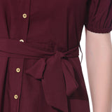 Solid Maroon Off Shoulder Buttoned Down Dress - Uptownie