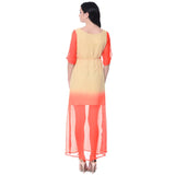 Colorblock Orange and Yellow Maxi Dress - Uptownie