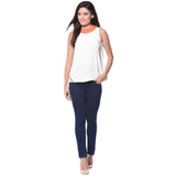 Solid White Sleeveless Crepe Top. FLAT 20% OFF