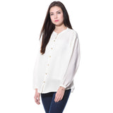 White Solid Full Sleeves Button Down Shirt