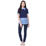 Uptownie Plus of Solid Blue Chambray Crepe Shirt. FLAT 200 OFF