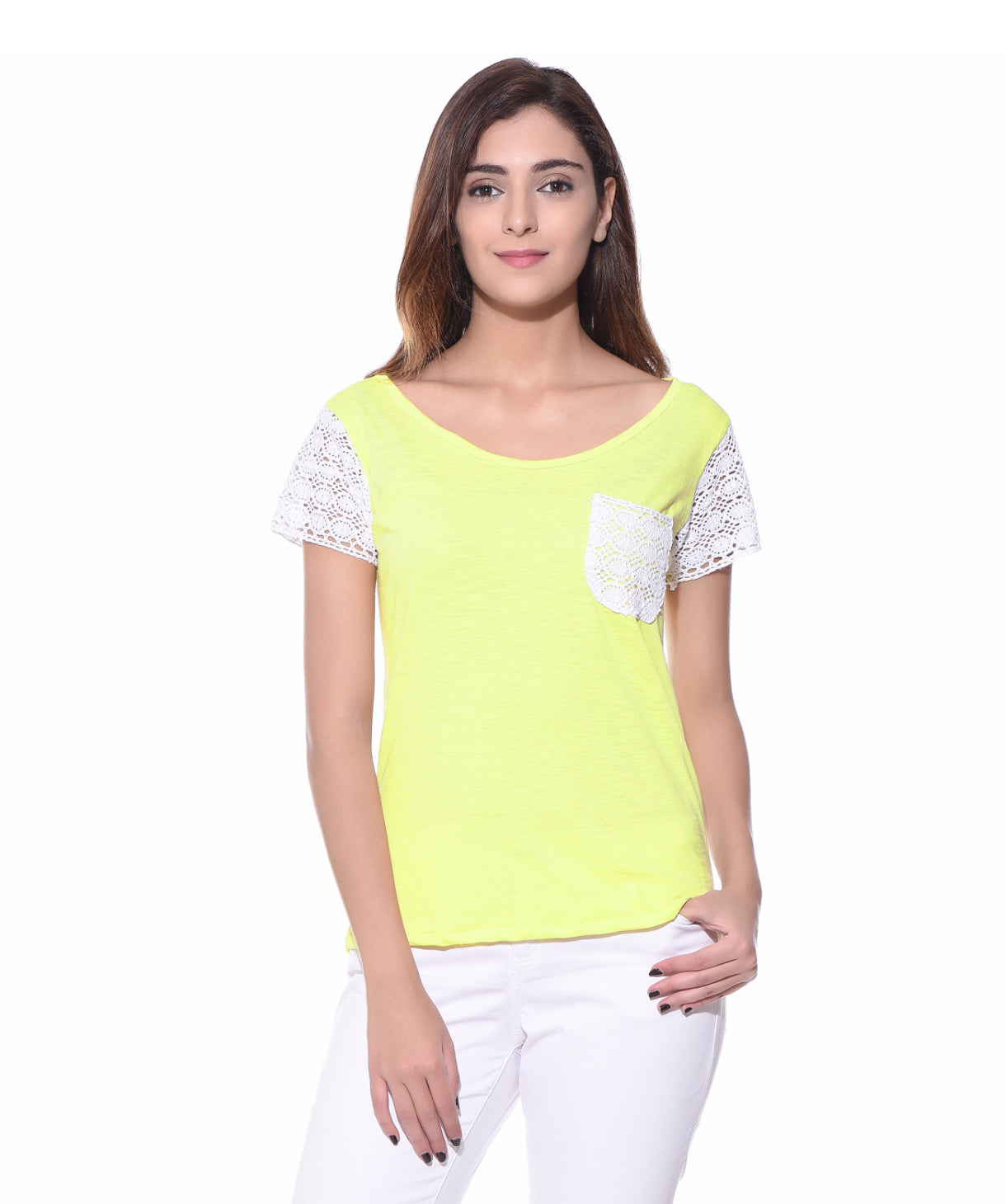 Uptownie Plus Solid Yellow Lace Sleeved Top. FLAT 200 OFF