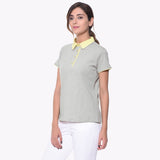 Solid Grey Collar T-shirt - Uptownie