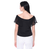 Solid Black Cape Georgette and Crepe Top. FLAT 20% OFF