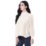 Solid White Long Sleeves Casual Top