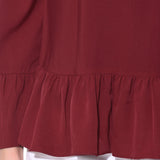 Solid Maroon Off Shoulder Crepe Top. BUY 1 GET 3