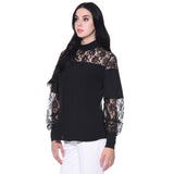 Solid Black Lace Long Sleeves Top