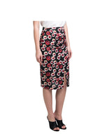 Red Printed Pencil Skirt