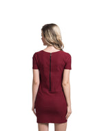 Solid Maroon Bodycon Stretchable Cotton Dress - Uptownie