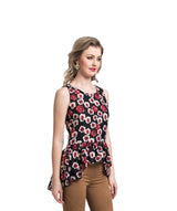Printed Red Peplum Top
