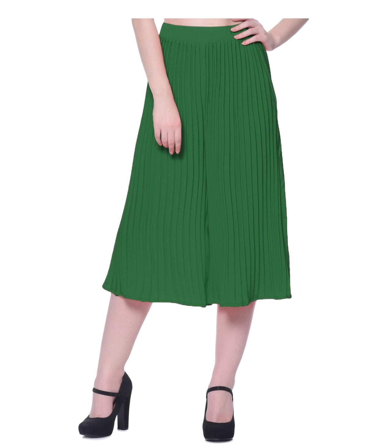Solid Green Pleated Culottes