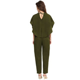 Olive Green Back Cape Jumpsuit