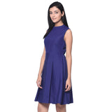 Solid Blue Box Pleated Skater Dress