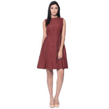 Solid Brown Box Pleated Skater Dress - Uptownie
