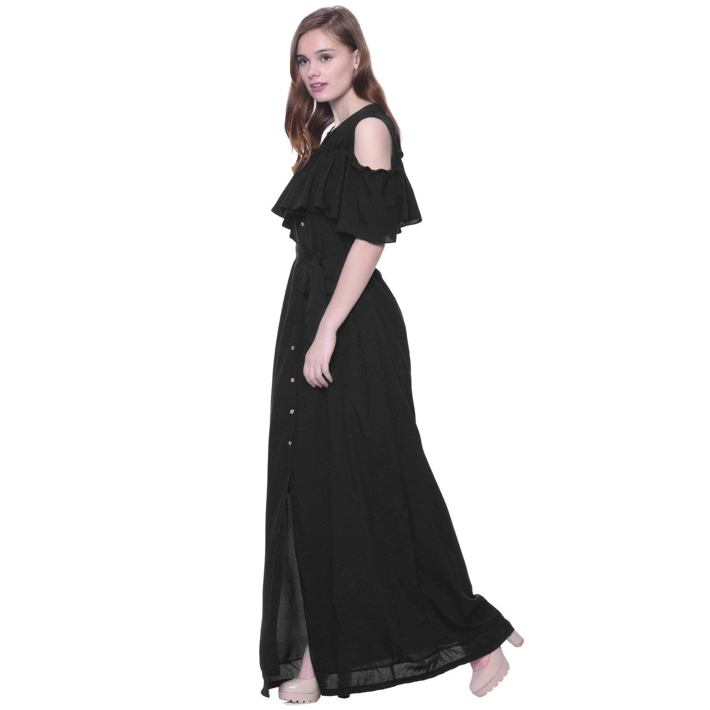 d34f3637fadcb Ruffled Buttoned Cold Shoulder Black Maxi Maternity Dress – Uptownie