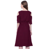 Solid Wine Ruffle Cold Shoulder Dress - Uptownie