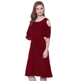 Solid Red Ruffle Cold Shoulder Dress - Uptownie