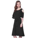 Solid Black Cold Shoulder Skater Dress - Uptownie