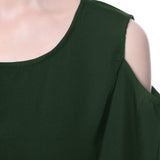 Solid Green Ruffle Cold Shoulder Dress - Uptownie