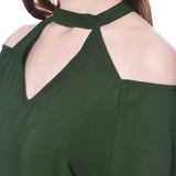 Green Choker Neck Cold Shoulder Jumpsuit
