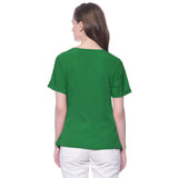 Uptownie Plus Solid Green Crepe Wrap Top 2 clearance sale