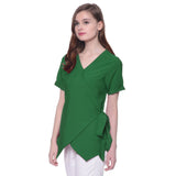 Uptownie Plus Solid Green Crepe Wrap Top 3 clearance sale