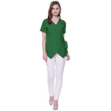 Uptownie Plus Solid Green Crepe Wrap Top 4 clearance sale