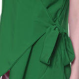 Uptownie Plus Solid Green Crepe Wrap Top 5 summer sale