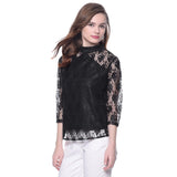 Solid Black Lace Top. FLAT 20% OFF