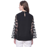 Solid Black Lace Bell Sleeves Top
