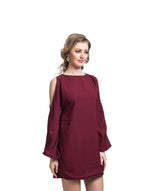 Solid Maroon Cold Shoulder Shift Crepe Dress - Uptownie