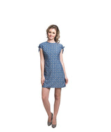Printed Blue Shift Dress