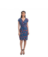 Printed Blue Cap Sleeves Wrap Dress - Uptownie